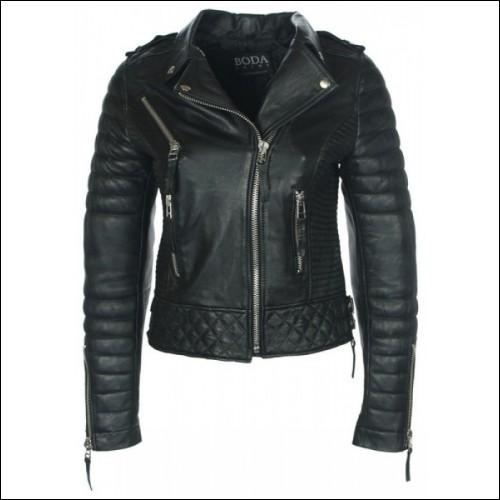 Vintage Ladies Leather Quilted Biker Jacket