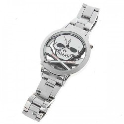 Stainless Steel Wrist Watch with Skull Pattern - White Pattern