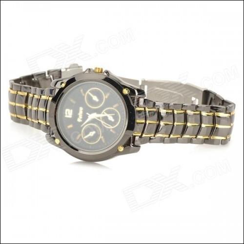 FeiWo Stainless Steel Band Analog Quartz Wrist Watch for Men - Black + Golden