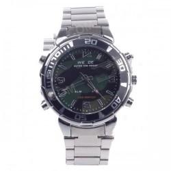WEIDE WH-843 Quartz & LED Electronics Dual Time Display Men's Wrist Watch - Silver (1 x CR2016)